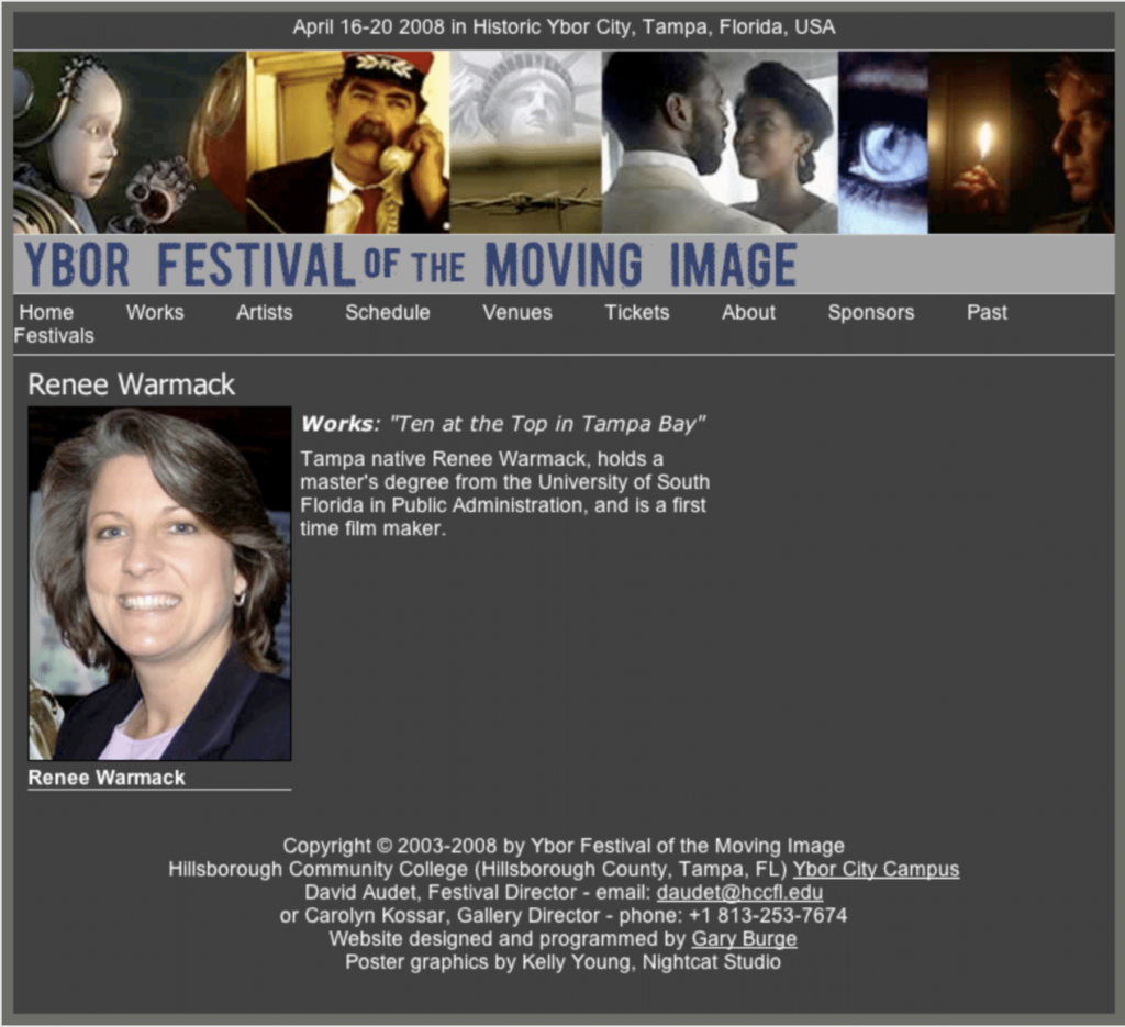 Renee Warmack entered in Film Festival for Ten at the Top in Tampa Bay - Ybor Festival of the Moving Image