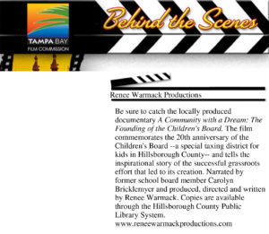 Renee Warmack featured in: Tampa Film Commission Newsletter - TAT Press
